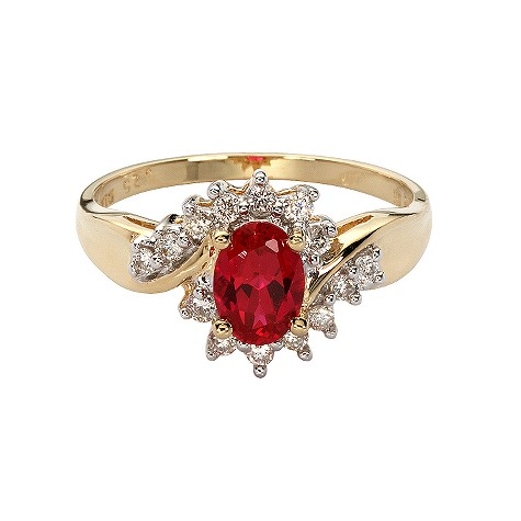 18ct gold created ruby and diamond ring