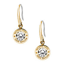 Michael Kors Gold Tone Logo Crystal Earrings - Product number 4384938