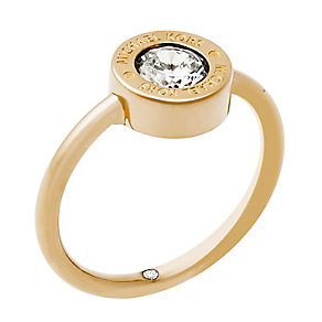 Michael Kors Gold Tone Logo Crystal Ring Size O - Product number 4384962