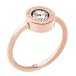 Michael Kors Logo Rose Gold Tone Crystal Ring Size O - Product number 4385187