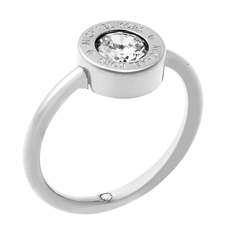 Michael Kors Logo Stainless Steel Crystal Ring Size O - Product number 4385195
