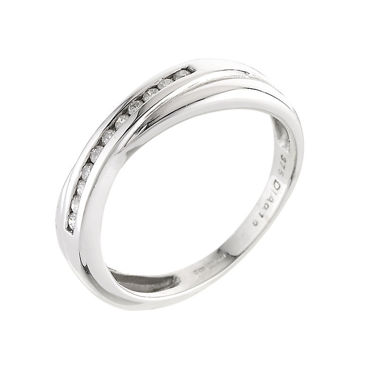9ct white gold channel set diamond wedding ring - Product number 4391462