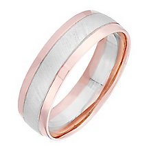 Men's 9ct White & Rose Gold Matt & Polished 6mm Band - Product number 4397053