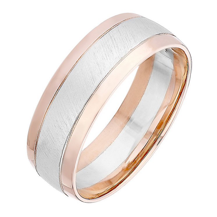 Men's 9ct White & Rose Gold Matt & Polished 7mm Band - Product number 4397223
