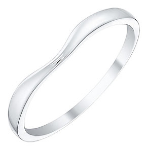 Ladies' 9ct White Gold Plain Curved Band - Product number 4397703