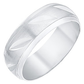 Men's 9ct White Gold Matt & Polished Diagonal Pattern Ring - Product number 4398653