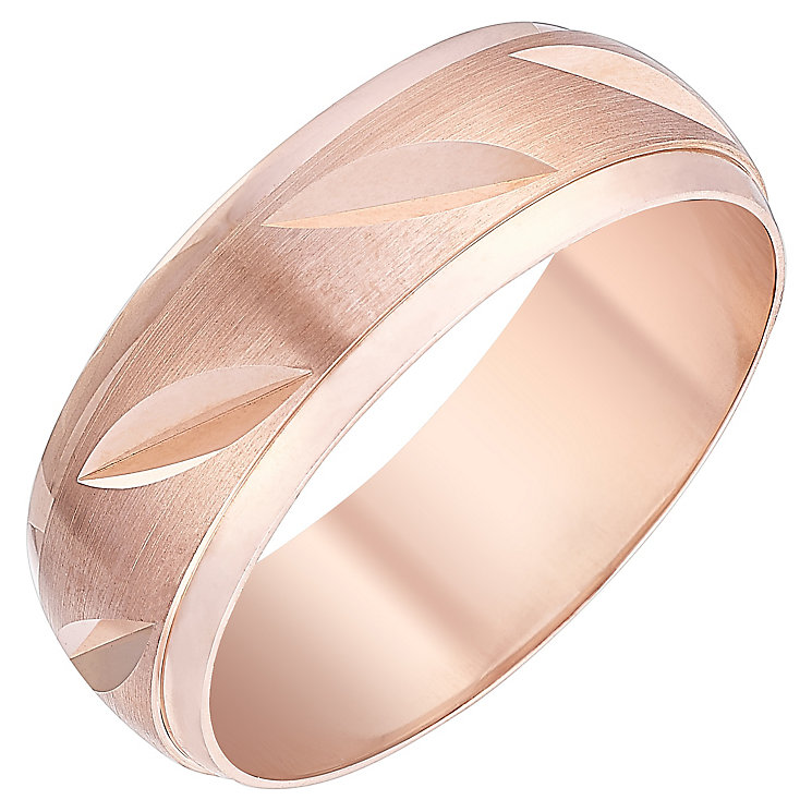 Men's 9ct Rose Gold Matt & Polished Diagonal Pattern Ring - Product number 4398874