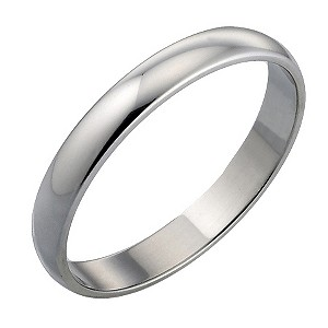 18ct White Gold Plain Wedding 3mm Ring