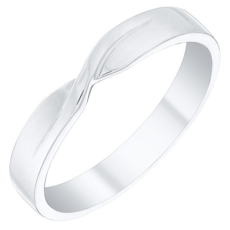 Ladies' 9ct White Gold Plain Twist Band - Product number 4400585