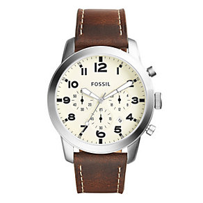 Fossil Pilot Men's Stainless Steel Cream Dial Strap Watch - Product number 4401824