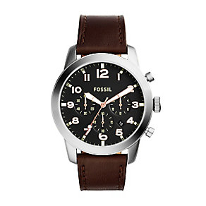 Fossil Pilot Men's Stainless Steel Black Dial Strap Watch - Product number 4401832