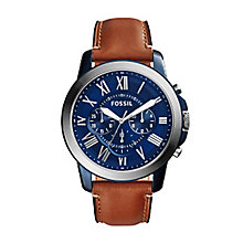 Fossil Grant Men's Stainless Steel Blue Dial Strap Watch - Product number 4401840