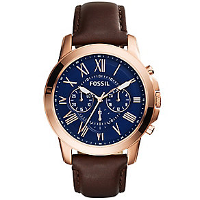 Fossil Grant Men's Rose Gold Tone Strap Watch - Product number 4401867