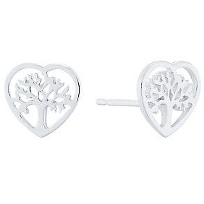 Sterling Silver Tree Of Life Heart Stud Earrings - Product number 4401905