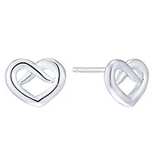 Sterling Silver Fancy Heart Stud Earrings - Product number 4402057