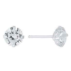 Sterling Silver 7mm Crystal Champagne Set Stud Earrings - Product number 4402871