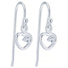 Sterling Silver Cubic Zirconia Set Heart Drop Earrings - Product number 4402936