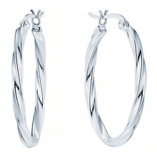 Sterling Silver Twisted Oval Hoop Earrings - Product number 4403053