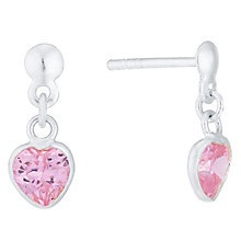 Sterling Silver Pink Cubic Zirconia Heart Drop Earrings - Product number 4403088