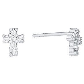 Sterling Silver Cubic Zirconia Set Cross Stud Earrings - Product number 4403266