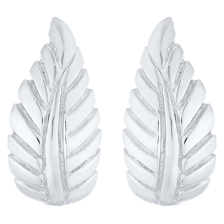 Sterling Silver Leaf Stud Earrings - Product number 4403428