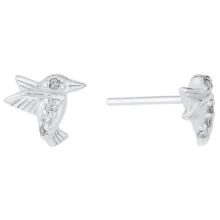 Sterling Silver Cubic Zirconia Set Hummingbird Stud Earrings - Product number 4404114