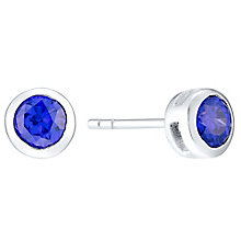 Sterling Silver Purple Cubic Zirconia Rubover Stud Earrings - Product number 4404548