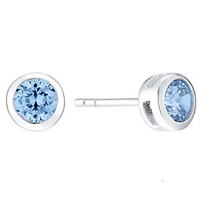 Sterling Silver Blue Cubic Zirconia Rubover Stud Earrings - Product number 4404602