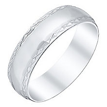 Men's 9ct White Gold Polished Patterned Edge Band - Product number 4404610