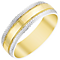 Men's 9ct Gold & White Gold Patterned Edge Band - Product number 4405684