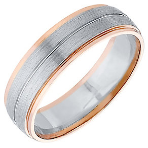 Men's Palladium 500 & 9ct Rose Gold Band - Product number 4407733