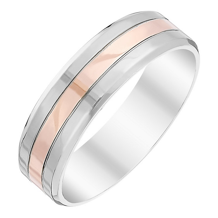 Men's Palladium 500 & 9ct Rose Gold Band - Product number 4410289