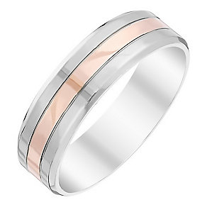 Men's Palladium 500 & 9ct Rose Gold Band