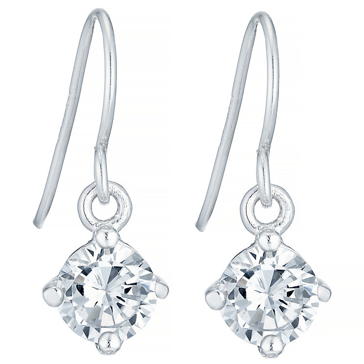 Sterling Silver Cubic Zirconia Solitaire Drop Earrings - Product number 4410467