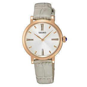 Seiko Ladies' Rose Gold-Plated Grey Leather Strap Watch - Product number 4410564