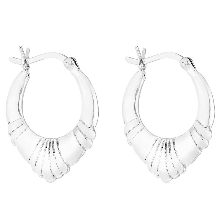 Sterling Silver Triangular Creole Earrings - Product number 4410599