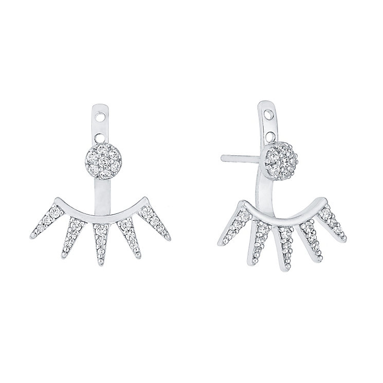 Sterling Silver Cubic Zirconia Triangle Ear Jackets - Product number 4410645
