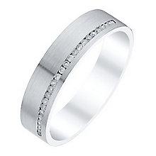Men's 9ct White Gold 0.13 Carat Diamond Matt Flat Band - Product number 4410718