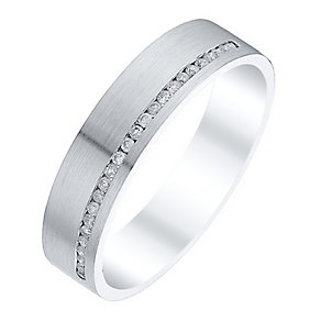 Men's 9ct White Gold 0.13 Carat Diamond Matt Flat Band - Product number 4410718