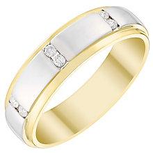 Men's 9ct Gold & White Gold 0.12 Carat Diamond Set Band - Product number 4410890