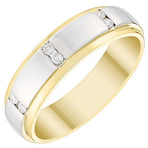 Men's 9ct Gold & White Gold 0.12 Carat Diamond Set Band - Product number 4410890