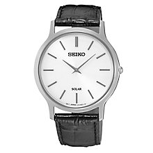 Seiko Solar Men's White Dial Black Leather Strap Watch - Product number 4411560