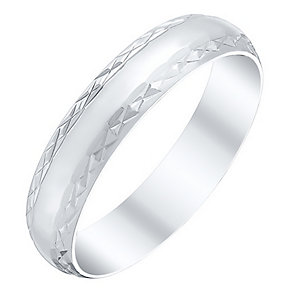 Ladies' 9ct White Gold Polished Patterned Band - Product number 4411587