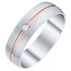 Men's 9ct White Gold & Rose Gold Single Diamond Set Band - Product number 4411722