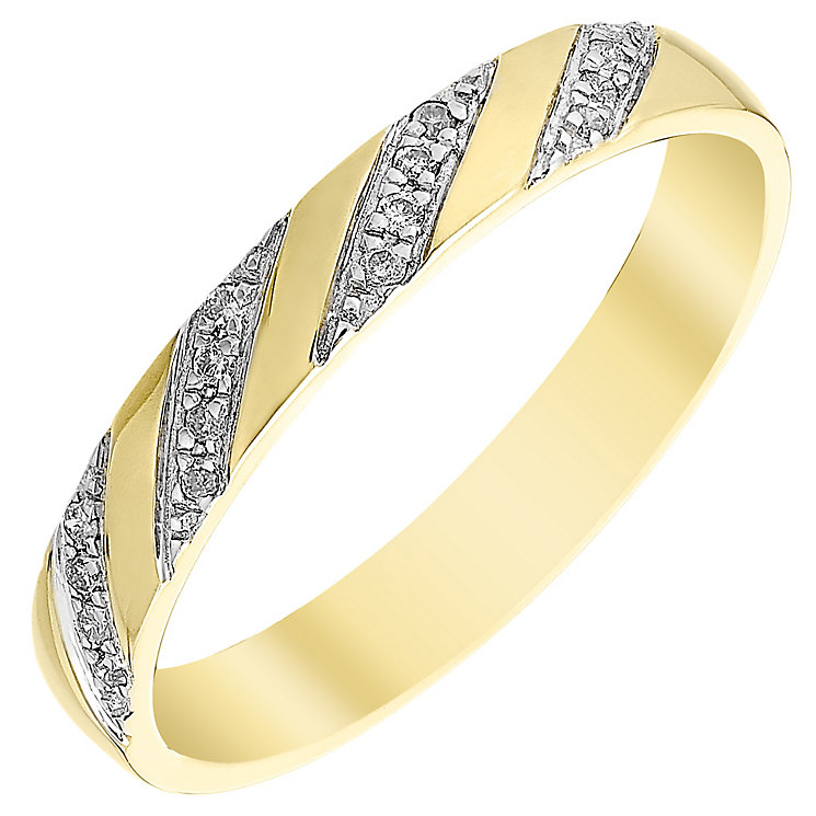 Ladies' 9ct Gold Diamond Set Diagonal Stripe Band - Product number 4411900