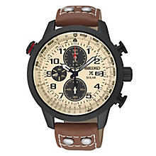 Seiko Prospex Solar Men's Brown Leather Strap Watch - Product number 4412052
