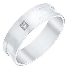 Men's 9ct White Gold Diamond Set Flat Band - Product number 4412079