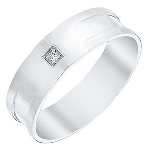 Men's 9ct White Gold Diamond Set Flat Band - Product number 4412079