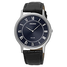 Seiko Solar Men's Navy Blue Dial Black Leather Strap Watch - Product number 4412974