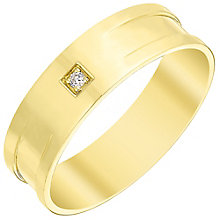 Men's 9ct Gold Diamond Set Flat Band - Product number 4412982